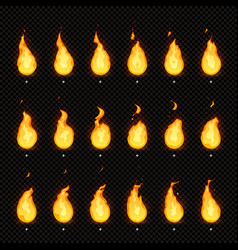 fire animation flaming flame fiery blaze and vector image