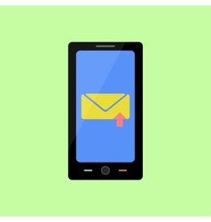Flat style smart phone with sent message vector