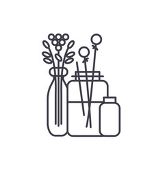 flowers in the interior line icon concept flowers vector image