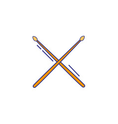 Full color drumstick object of wooden to play drum vector