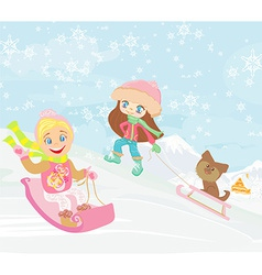 fun in the winter day vector image