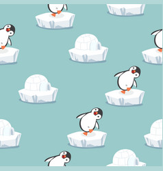 funny penguin with igloo ice house pattern vector image