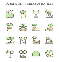 Garden and landscaping icon set design use to vector