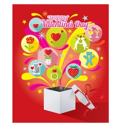 Gift Box with Love Icons and Valentines Text vector image