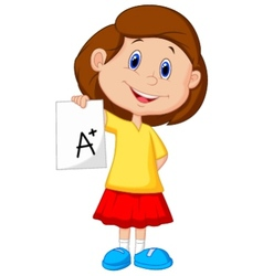 Girl cartoon showing A plus grade vector image