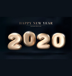 gold 2020 numbers happy new year on a dark vector image