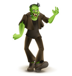 Green cartoon monster frankenstein goes to vector