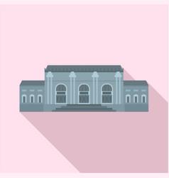 grey facade historical building icon flat style vector image