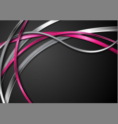 Grey silver and bright pink waves on black vector