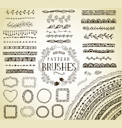 Handrawn pattern brushes vector