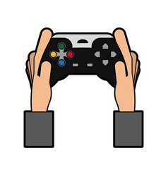 Hands holding video game controller icon image vector