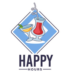 happy hours in bar banner with cocktails for cafe vector image