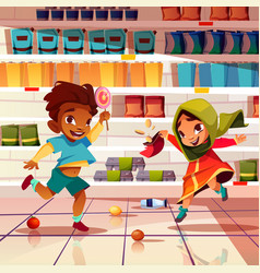 Indian kids playing in supermarket cartoon vector