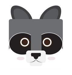 isolated raccoon face vector image