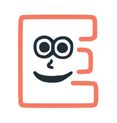 Letter e happy eccentric smiling character smiley vector