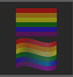 lgbt pride flag waving and straight shape rainbow vector image