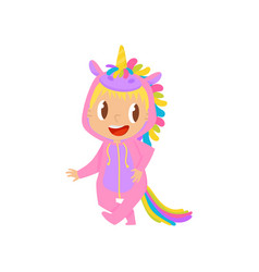 lovely baby girl in pink unicorn costume vector image