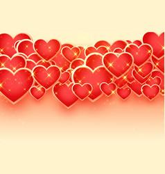 Lovely many sparkling golden hearts background vector
