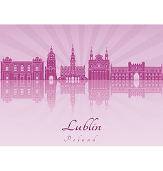 Lublin skyline in purple radiant orchid vector image