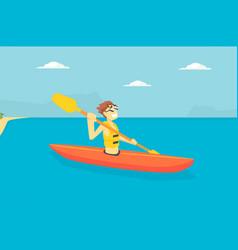man paddling kayak male tourist spending active vector image