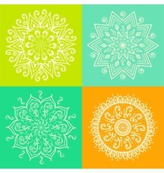 mandala round ornament pattern set vector image