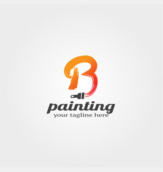 Modern painting logo template with initial b vector