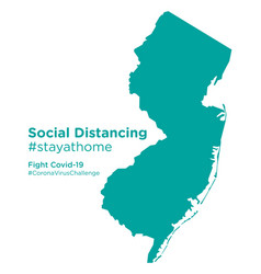 New jersey state map with social distancing vector