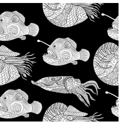 oceanic animals zentangle seamless pattern vector image