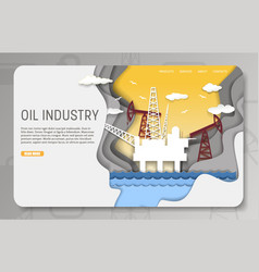 paper cut oil industry landing page website vector image