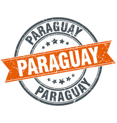 Paraguay red round grunge vintage ribbon stamp vector