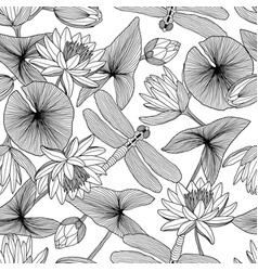 Pattern water plants lotus flowers and vector