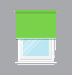 Plastic window with green roller blind vector