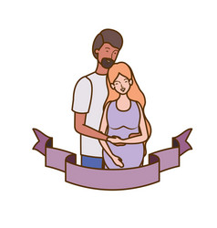 Pregnant woman with husband with decorative ribbon vector