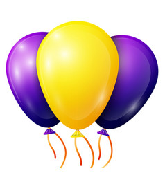 Realistic purple yellow balloons with ribbons vector