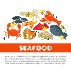 Seafood fresh fish poster sea food restaurant vector