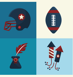 Set american tradition elements icons vector