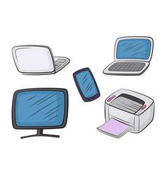 Set computer equipment vector