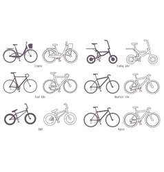 Set of different types bicycles vector