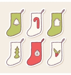 Set of hand drawn christmas sock stickers with vector image