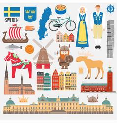 set with design elements symbols sweden vector image