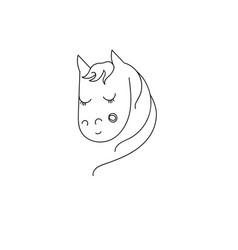 shy unicorn horse vector image