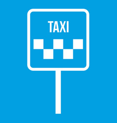 Sign taxi icon white vector
