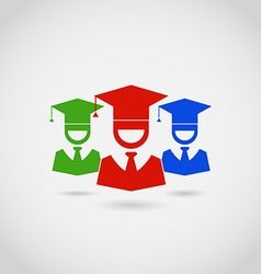 Smiling Guys in Graduation Cap Colorful Pictograms vector image