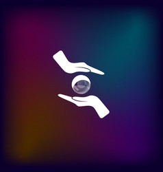 Soap bubble and hands icon vector