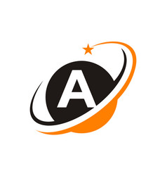 Star swoosh letter a vector