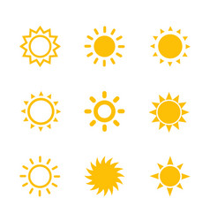 sun icons set on white vector image