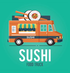 sushi food truck vector image