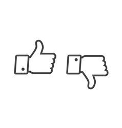 thumb up and thumb down icons set isolated on a vector image