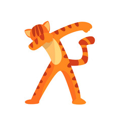Tiger standing in dub dancing pose cute cartoon vector