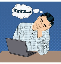 Tired Sleeping Businessman at Work Pop Art Style vector